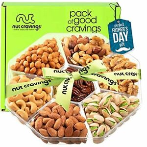 Fathers Day Nut Gift Basket + Green Ribbon (7 Piece Assortment, 1 LB) - Prime Ar