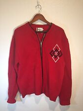 Vintage 50s-60s-Large Red Wool Blend Zipper Sweater-Diamond Design