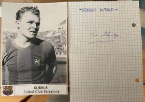 FC Barcelona  Kubala Laszlo (Ladislao) greatest Player signed paper from Spain