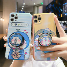 For IPhone 12 11 Pro XS Max 7 8+ Cute cartoon Milk tea Doraemon stand phone Case