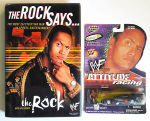 THE ROCK Says HARDCOVER BOOK + Road Champs Die-Cast Car WITH MINI FIGURE LOT