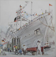 Hilde Hudemann Carmania moderne britische Passagierschiff Hamburg - Druck print