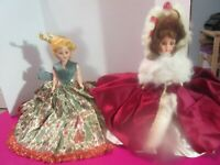 """Lot Of 2 Vintage Doll Hard Plastic Jointed Glued Hair Pretty Gowns 7"""""""