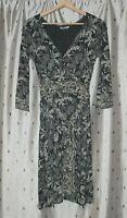 White Stuff ~ Grey Stretch Viscose Floral Dress With Tie Belt ~ Size 8