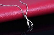 silver wishbone pendant necklace magic wishing love infinity wish bone UK gift