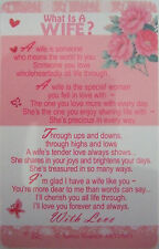 """Pocket Keepsake Messages""""What Is A Wife"""" Wallet/ Purse (pink flowers)"""