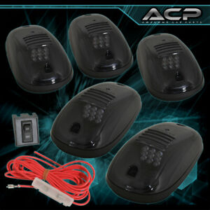 5Pc 9 Led Amber Smoked Truck Suv Pick Up Rv Top Cab Roof Marker Parking Lights