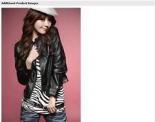 Womens Pu Leather Jacket Black Scoop Neck Zipper Coat Slim Fashion Outwear New