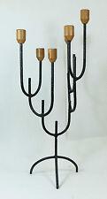 Interessanter großer Brutalist Design Kerzenständer Eisen und Holz 70er 80er