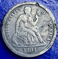 1864 S Seated Liberty Dime 10c San Francisco Rare Date nice VF - XF #5671