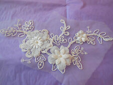 ivory bridal beaded lace Applique / wedding ivory floral lace motif per piece