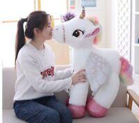 "23"" Giant Stuffed Fluffy Unicorn Pony Pegasus Gift Kids Christmas Birthday Toy"