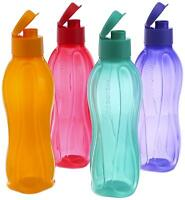 New   Tupperware Flip Top Water Bottle Set, 750ml, Set of 4, Multicolor