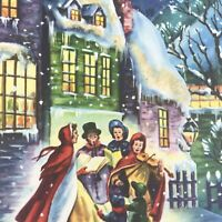 Vintage Mid Century Christmas Greeting Card Glitter Snowy Roof Carolers At Night