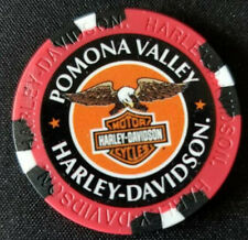 POMONA VALLEY HD~ 25th Ann ~CA~ (Red/Black) ~ Harley WIDE PRINT Poker Chip