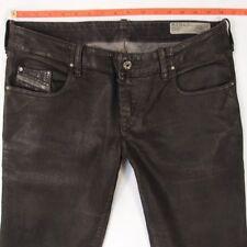Womens Diesel GRUPEE Leather Look Stretch Skinny Black Jeans W32 L30 UK Size 12