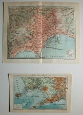 Neapel, Napoli, Umgebungskarte und Stadtplan - Lithographie 1902