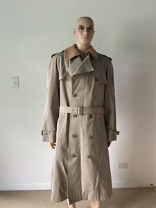 Vintage Beige Belted Trench Coat Removable Wool Liner & Collar Men's 44 Ex Long