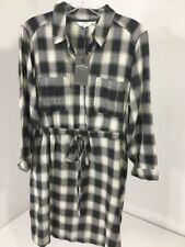 FATFACE WOMEN'S CHECK SHIRT DRESS CHARCOAL/OFF WHITE UK:12/US:8 NWT $70