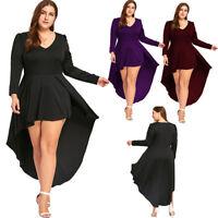 Fashion Chic Plus Size High Low Hem Dress Long Sleeve Cocktail Party Dress