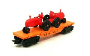 MX Vintage Marx Deluxe O Scale 4528 Erie Orange Flat Car with Tractors SCARCE