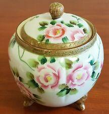 Antique Nippon Porcelain Footed Cracker Biscuit Cookie Jar Lidded Roses Floral