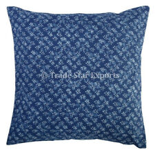 Set Of 2 Pcs Indian Block Print Cushion Cover 16x16 Indigo Handmade Pillow Case