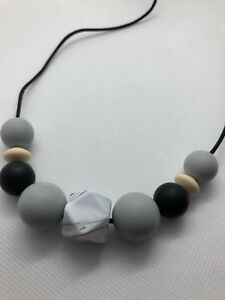 Silicone Necklace for Mum Jewellery Beads Aus Black Gift Modern (was Teething)