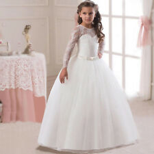 Flower Girl Dresses Long Sleeves Lace Ball Gown For Kid Weddings First Communion