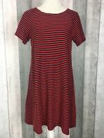 Uniqlo Navy Red Striped 100% Cotton Short Sleeve A-Line Shift Dress Size UK M