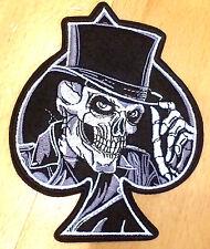 Totenkopf Pik Aufnäher Aufbügler ace of spades skull patch biker skeleton death