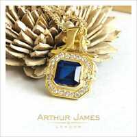 3.50 Ct Pendant Blue Sapphire Emerald cut Gemstone Diamond Halo Gold Jewel Lady