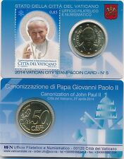 Vatikan Stamp & Coin Card - Coincard Nr. 5 2014 Papst Franziskus + Joh. Paul II