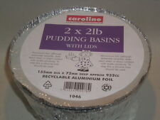 New Caroline Foil Pudding Bowl Basin And Lid  2LB Pack of 2