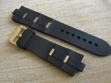 Black Rubber Watch Band Strap Yellow Gold Clasp-Links FIT/BVLG Diagono 24mmX8mm