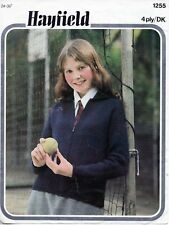 """~ Vintage 1970's Hayfield Knitting Pattern For Child's Zip-Up Jacket ~ 24"""" ~ 36"""""""