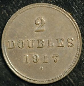 Guernsey 2 Doubles 1917 H KM#12 Mintage only 15,000 RARE Date (T13)