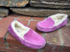 $100 Ugg Australia Ansley Cactus Flower/purple Suede Slippers Moccasin Women 7