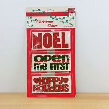Vintage 1970s-80s Flocked Christmas Gift Tags- Fuzzy Gift labels- Noel- Open Me