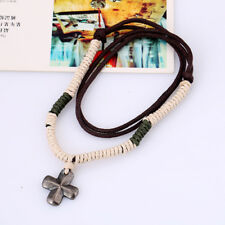 cross Jewelry Fashion Gift Quality Leather Men's Rope Necklace Pendant