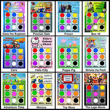 Childrens Personalised Colour Chart. Learning Fun for Kids, Education, 9 Colours