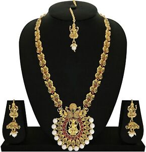 Goddess Laxmi with Dancing Peacock Ruby Brass Gold Plated Necklace Set for Women