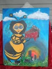 Original Oil/Acriylic on Canvas of Cartoon  Lady Bee Eating Cherry Pie