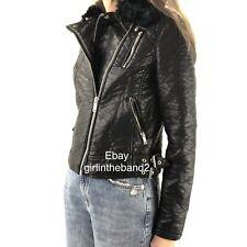 Dex Faux Leather Vegan Moto Jacket Removable Faux Fur Collar Womens Size Small