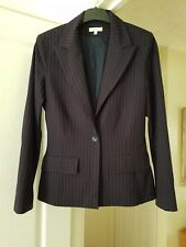 Super Kookai Navy Blue & White Striped Smart Jacket, Fitted, (EUR 40) UK 12, VGC