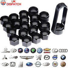 17mm SMOOTH BLACK ALLOY WHEEL NUT BOLT COVERS CAPS UNIVERSAL SET FOR ANY CAR