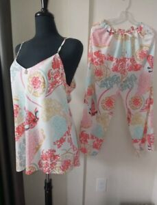 Natori Madame Butterfly  Floral 2PC Set Pajama Top & Pants Sleepwear Size S NWT