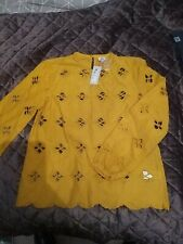 Brand New River Island Long Sleeve  Mustard Top Size 8