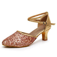 Ballroom Heeled Latin Dance Shoes Women Modern Tango Salsa Sequins Ladies Girls