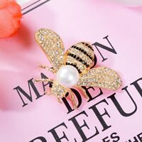 Delicate Little Bee Insect Crystal Rhinestone Collar Brooch Pin Women Jewelry